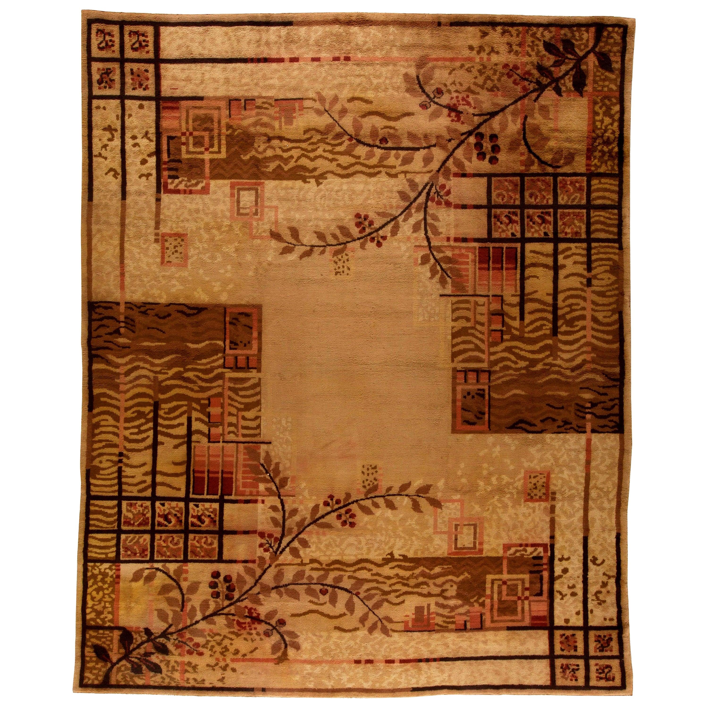 Midcentury French Art Deco Handwoven Wool Rug in Beige, Brown and Burgundy