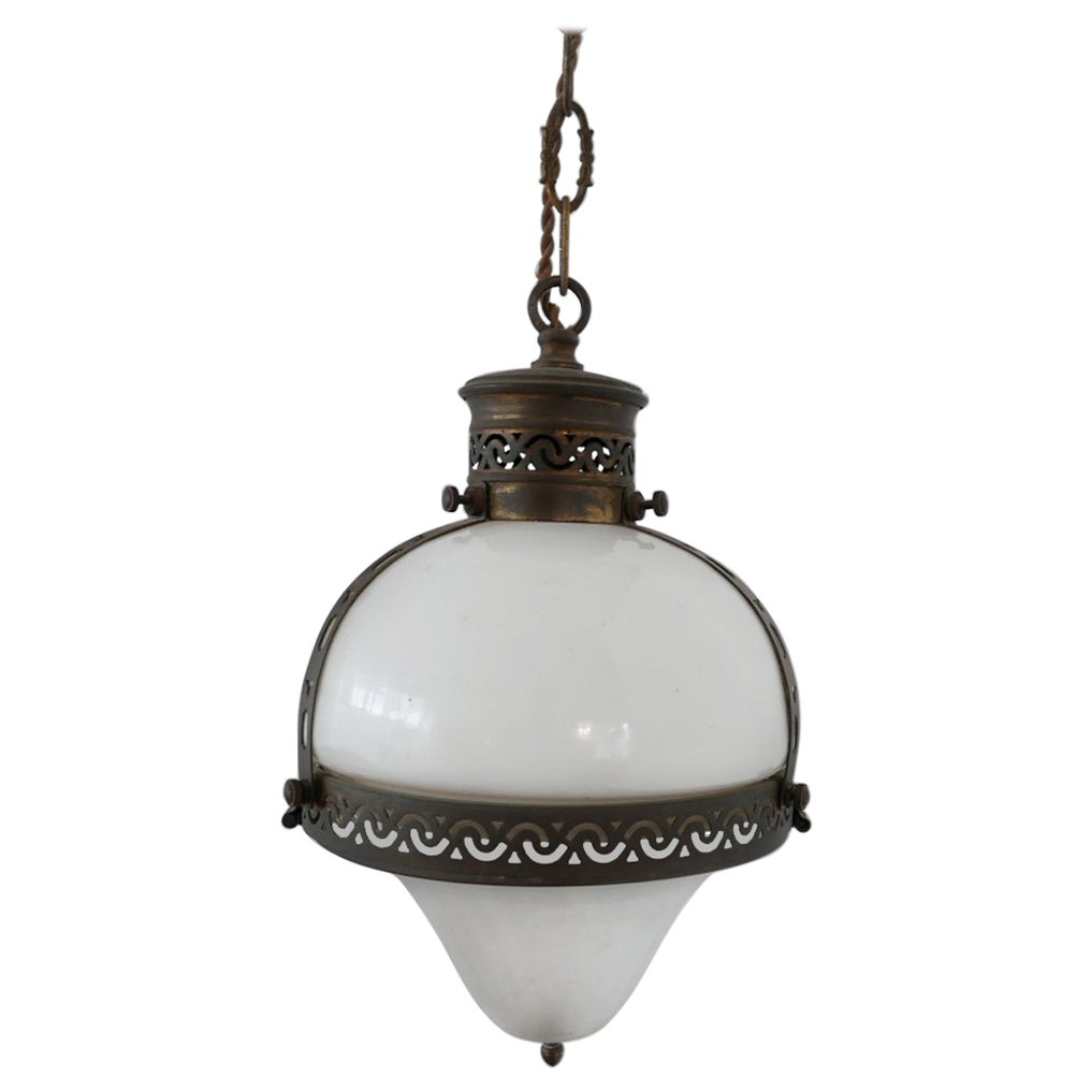 Antique Two-Tone French Opaline Pendant Light