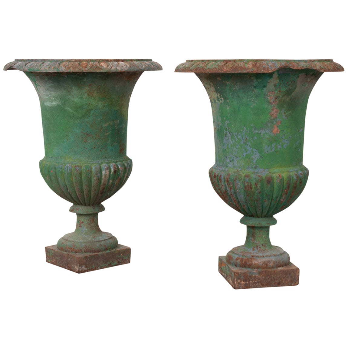 Pair of French 19th Century Painted Cast Iron Urns
