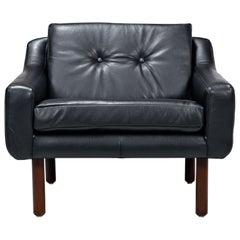 Restored Midcentury Svend Skipper Style Black Leather Low-Back Lounge Chair
