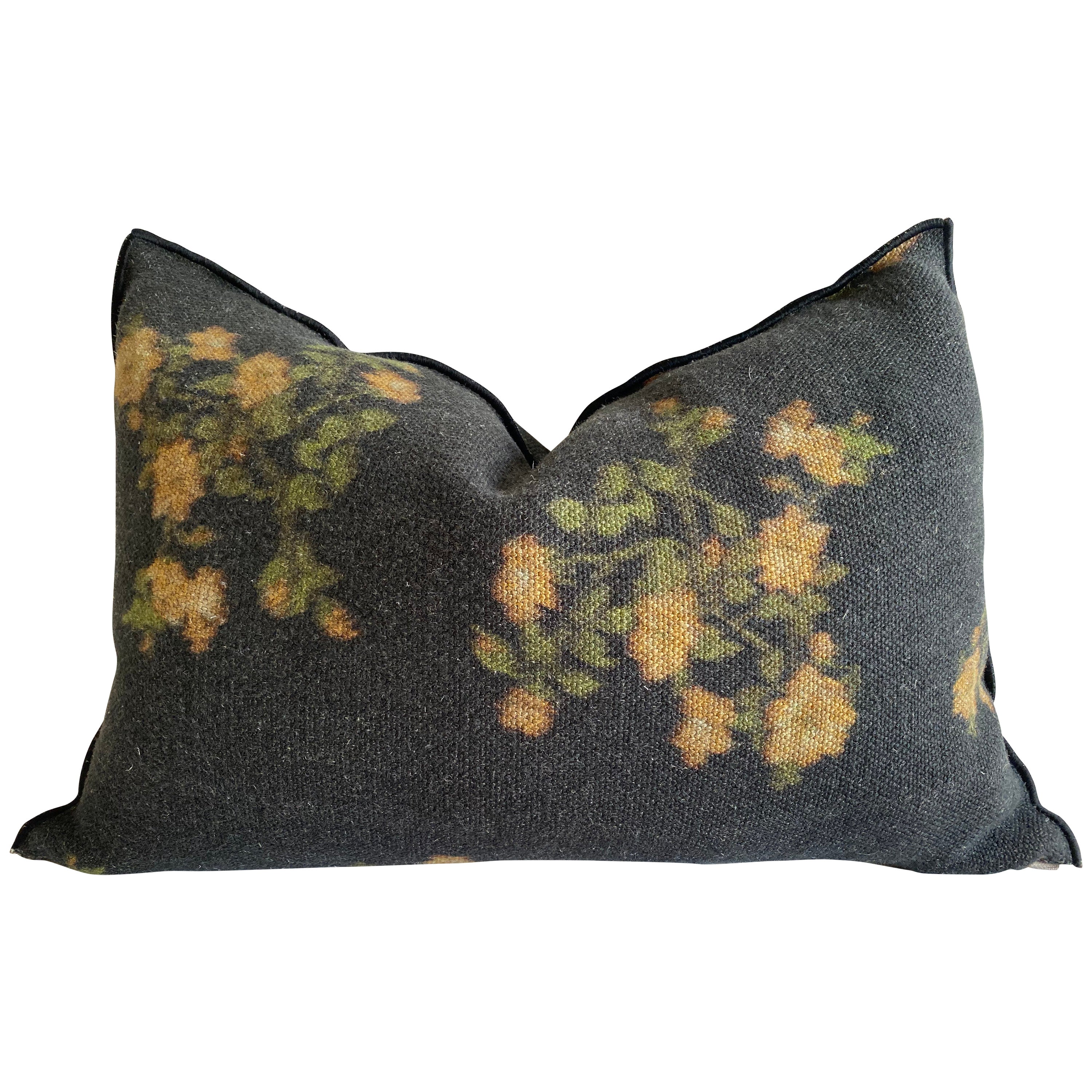 European Linen Black Roses Lumbar Accent Pillow with Down Insert