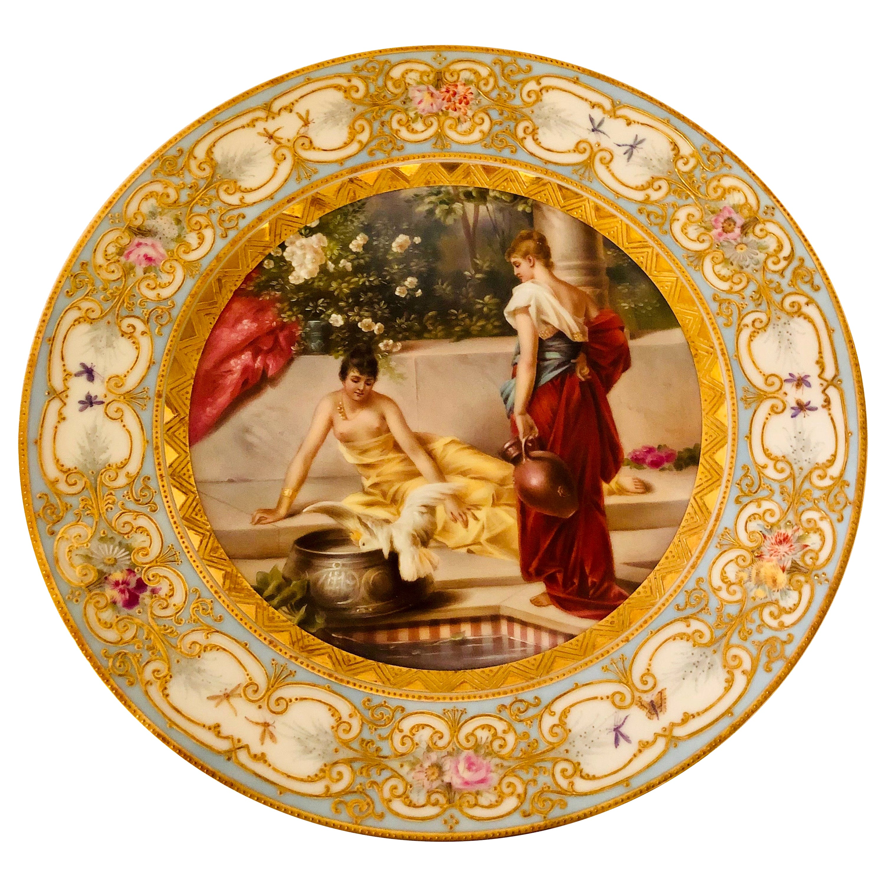 """""""Royal Vienna"""" Plate Painted with Two Ladies and a Bird at a Tiled Watering Hole"""