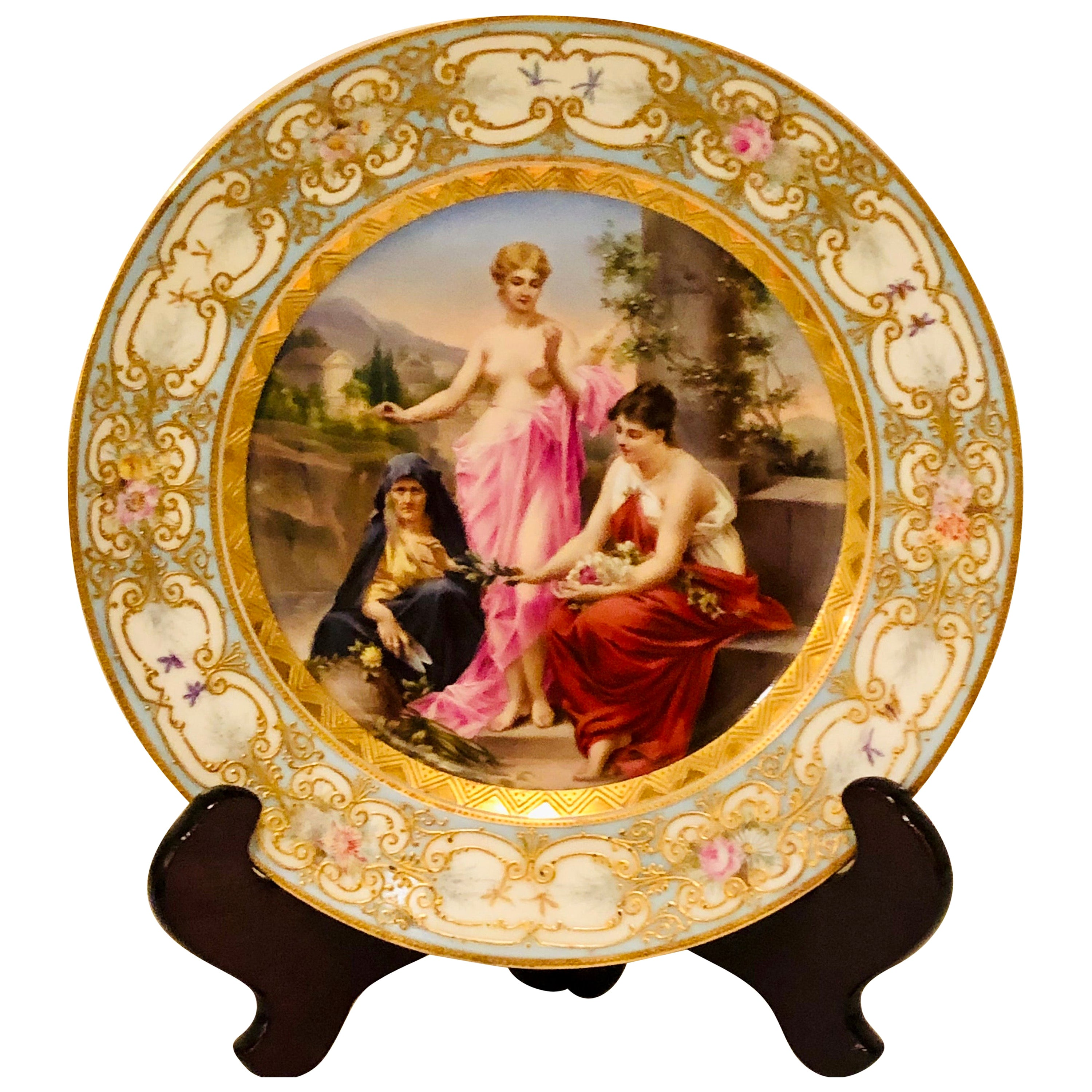 """""""Royal Vienna"""" Cabinet Plate Depicting 3 Mythological Ladies Called the Fates"""
