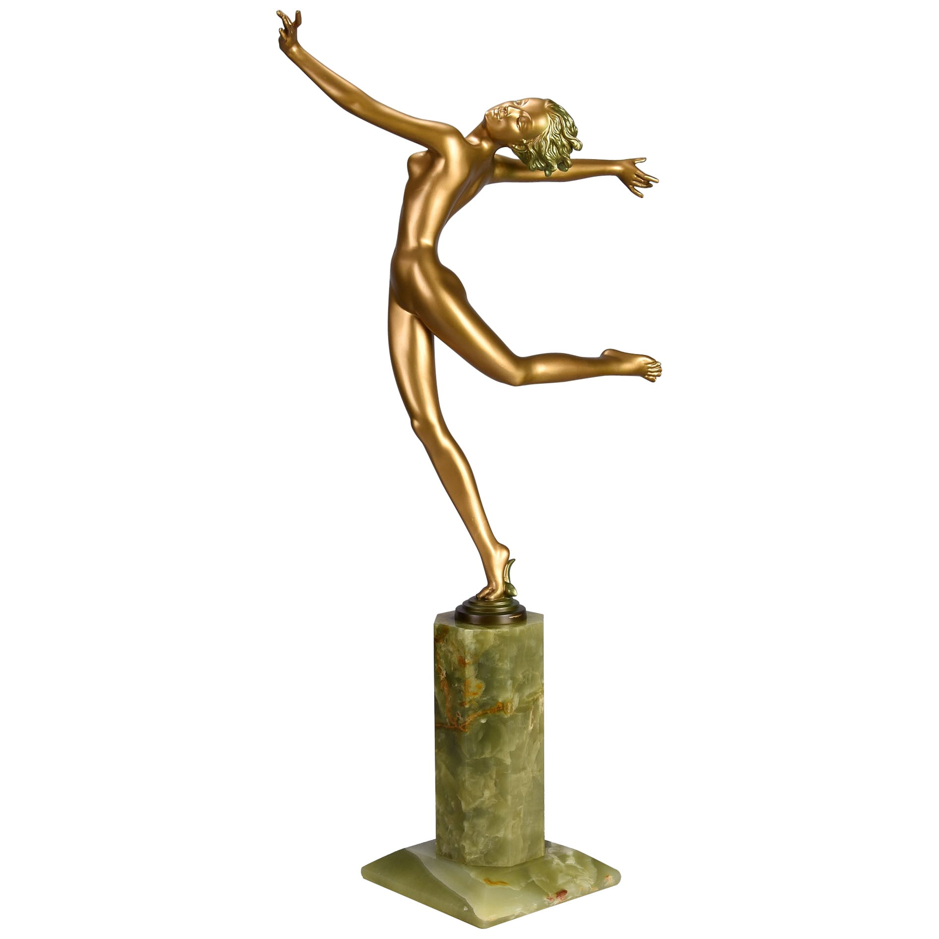 "Austrian Cold Painted Art Deco Bronze Figure ""Kristina"" by Josef Lorenzl"