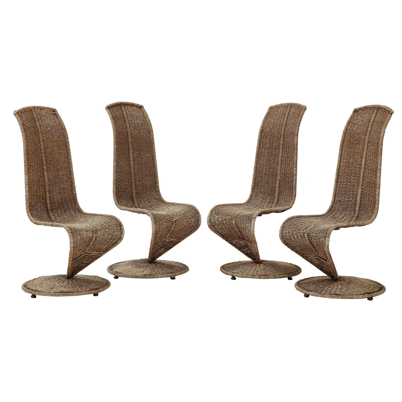 Set of Four Marzio Cecchi Model 'S' Chairs, Italy