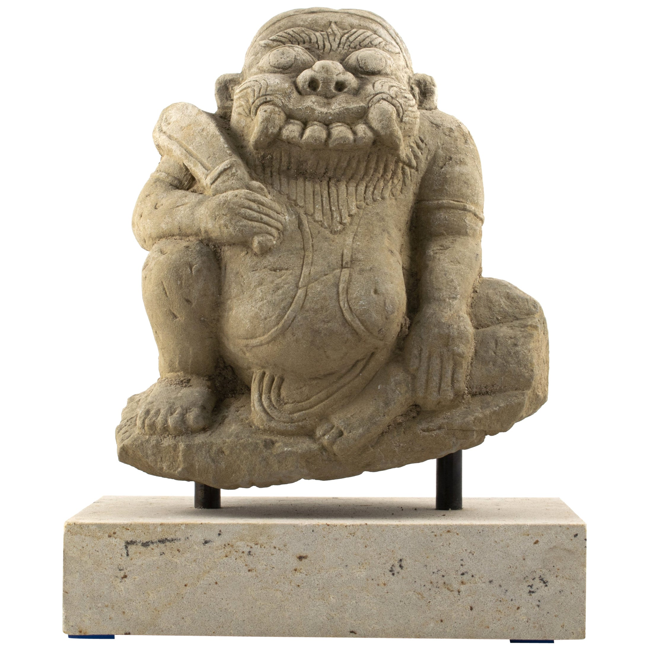 17th-18th Century Carved Sandstone Temple Sculpture of Demon from Burma