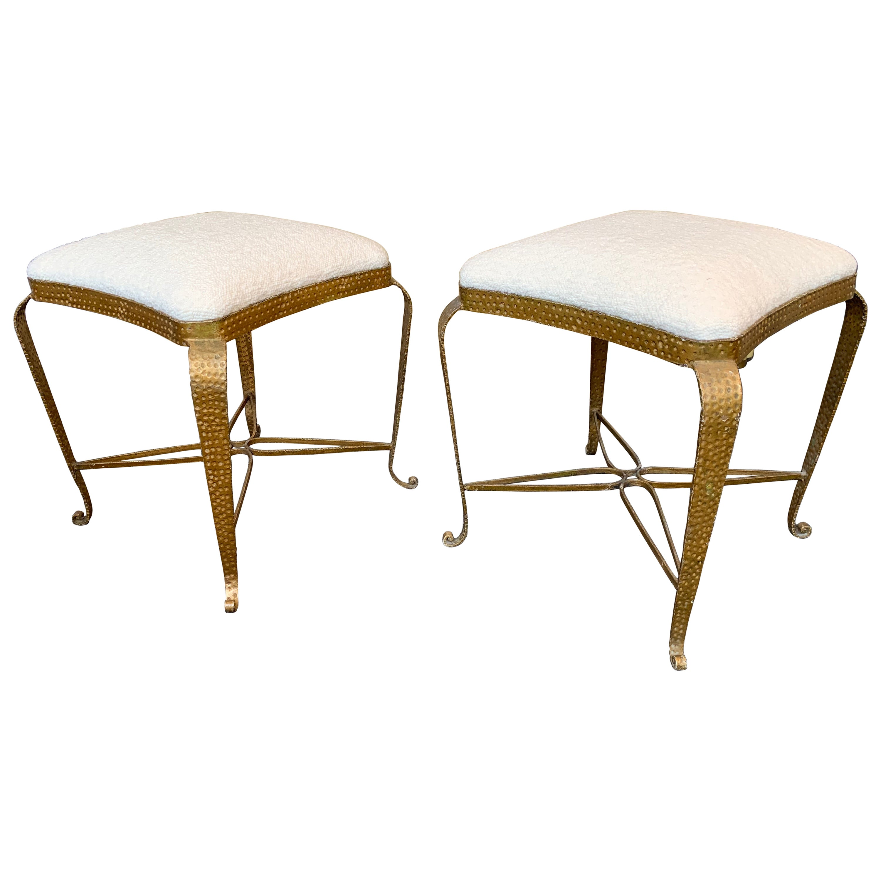 Pair of Stools Gold Leaf by Pier Luigi Colli, Italy, 1950s