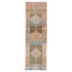 Antique Malayer Runner with Geometric Designs in Gray, Blue, Charcoal & Orange