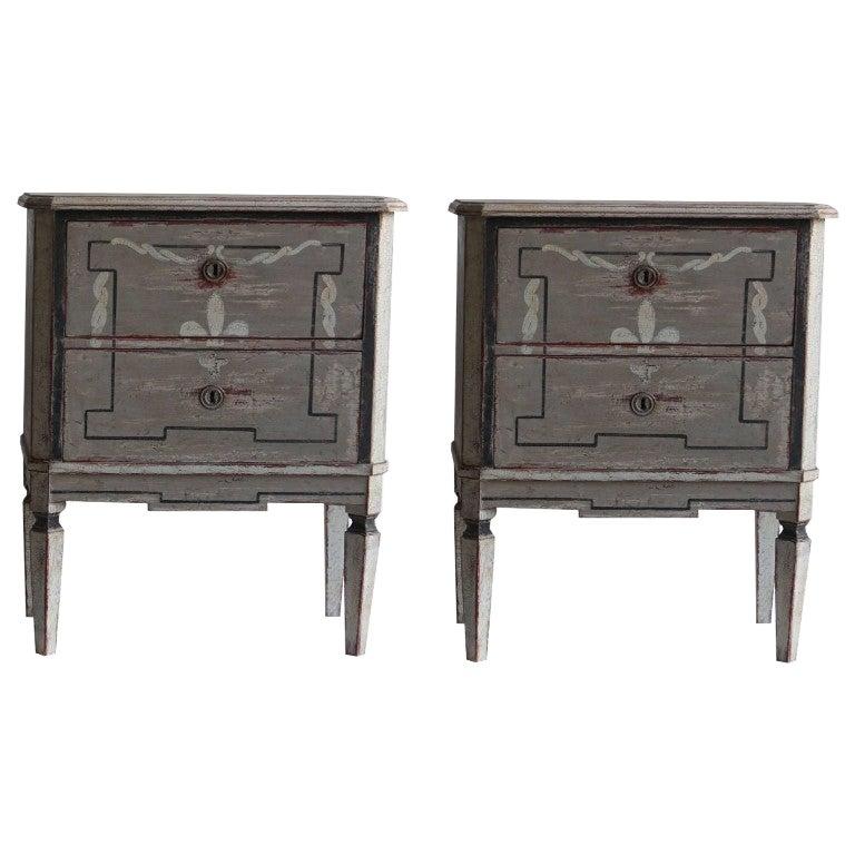 20th Century Dark-Grey Swedish Gustavian Pair of Antique Pinewood Nightstands
