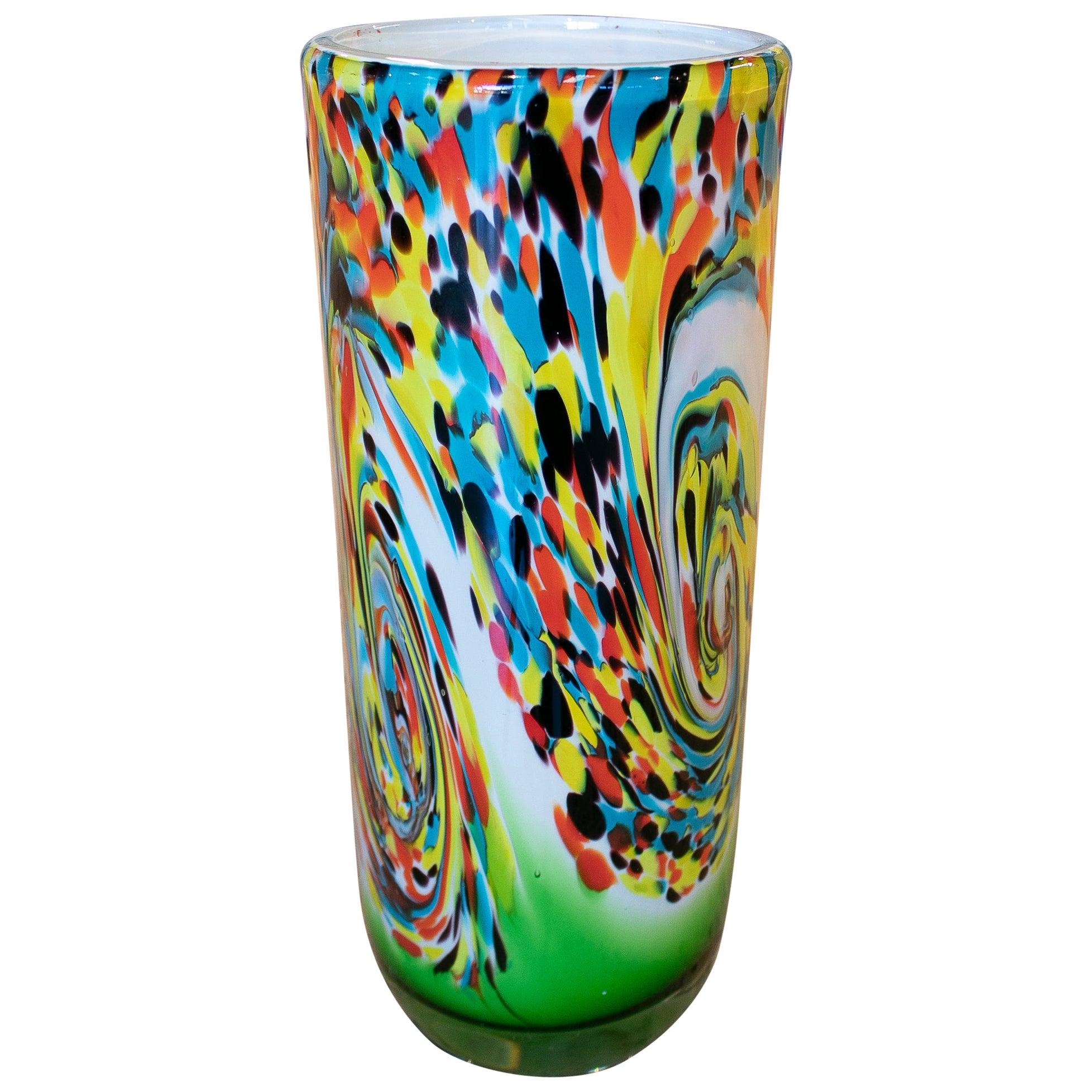 1980s Italian Venetian Murano Glass Colorful Vase