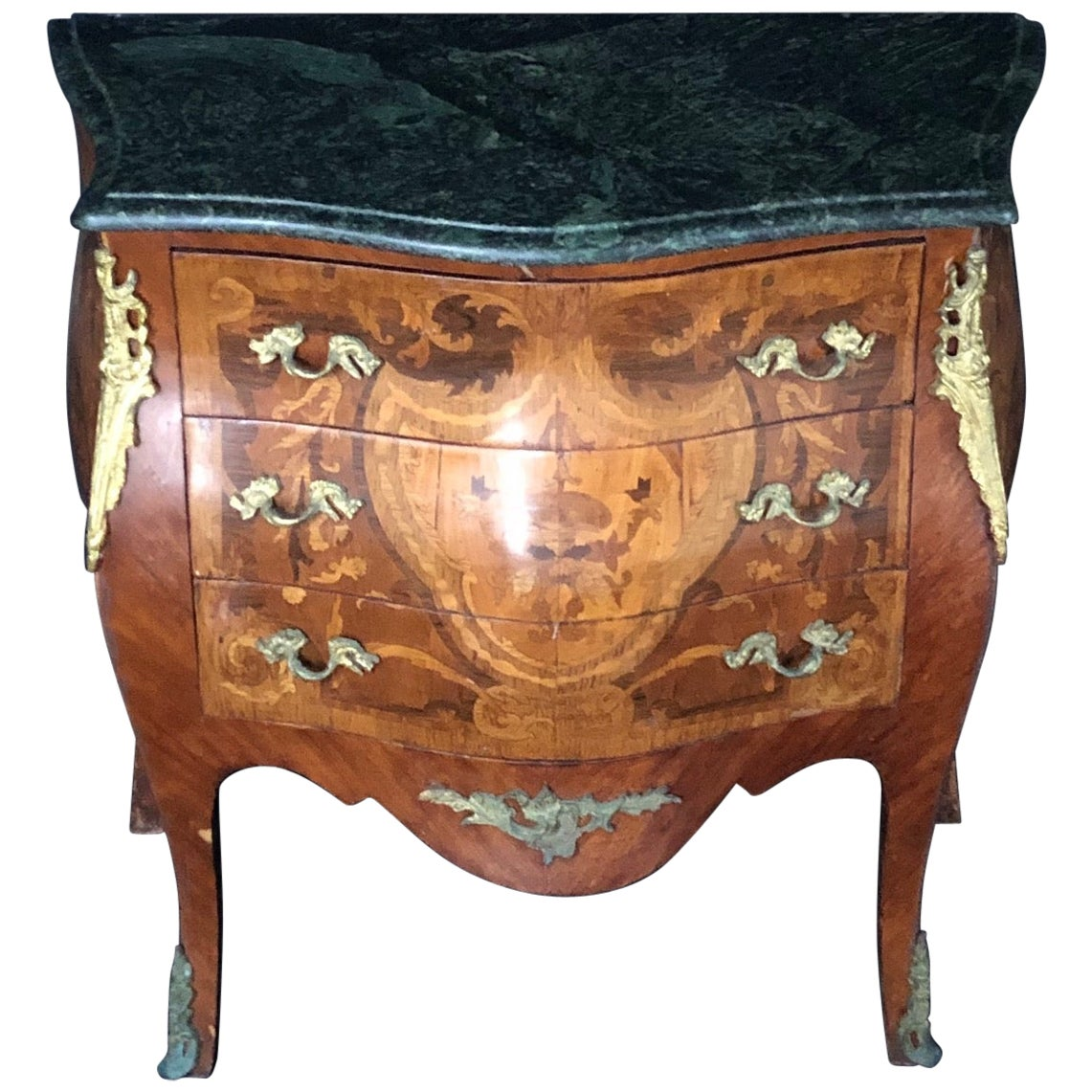 Exquisite French Louis XV Side Table or Nightstand with Dark Marble Top