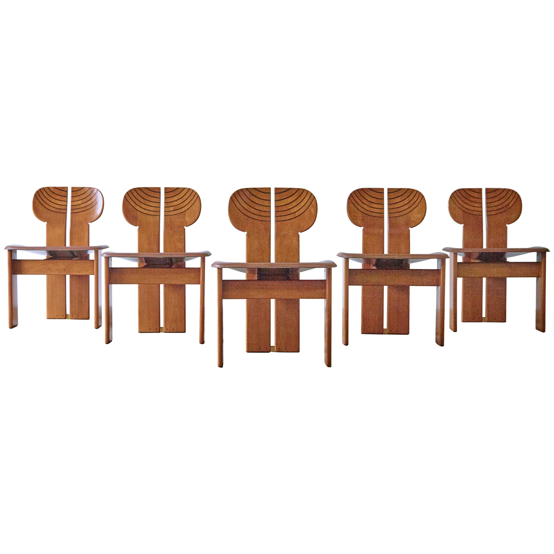 Set of Africa Chairs Afra & Tobia Scarpa Maxalto Artona Series Italy 1970s-1980s