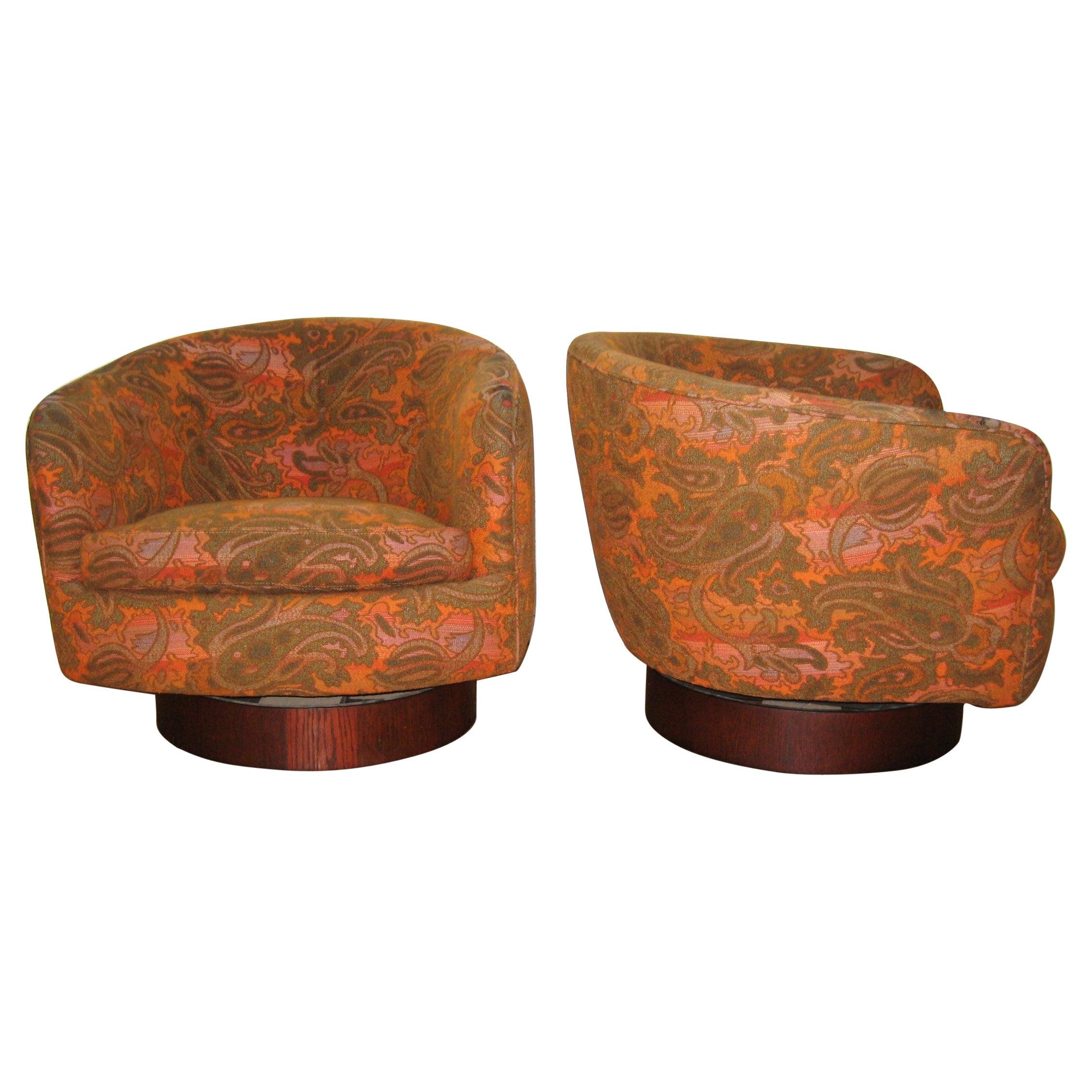Pair of Milo Baughman for Thayer Coggin Swivel, Tilt Lounge Chairs