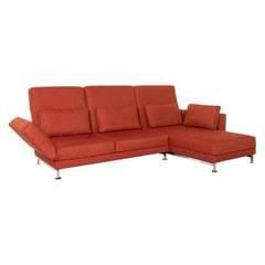 Brühl & Sippold Moule Fabric Sofa Terracotta Red Relaxation Function Couch