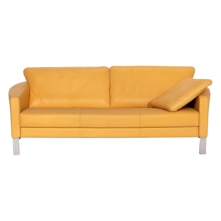 Rolf Benz Leather Sofa Yellow Three-Seat Couch