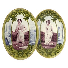 Pair of Presumably German Late 19th Century Plaques of Oval Shape