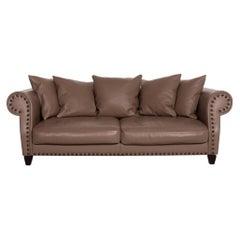 Roche Bobois Chester Chic Leather Sofa Brown Three-Seat