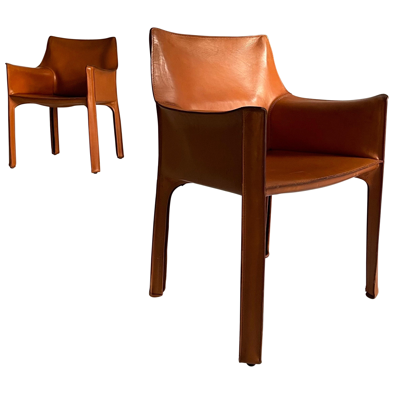 Mario Bellini Cassina CAB 413 Pair Armchairs in Patinated Cognac Leather, 1970s