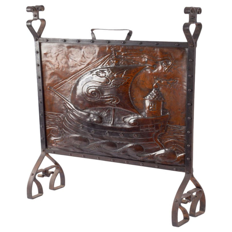 Liberty & Co. Copper & Wrought Iron Fire-Screen Depicting Galleon & Dragon Sail