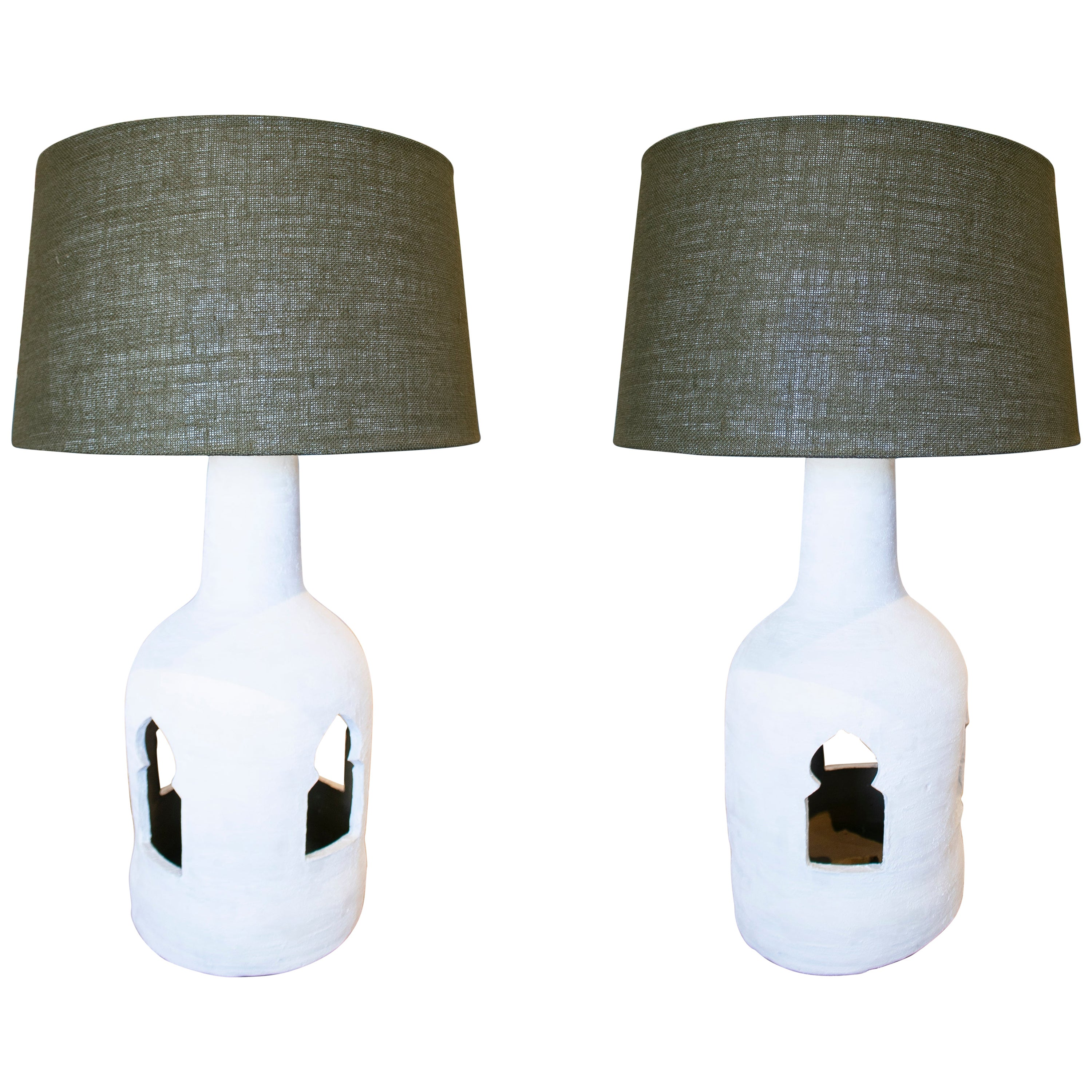 1970s Pair of Spanish Ceramic Table Lamps Painted in Chalk White