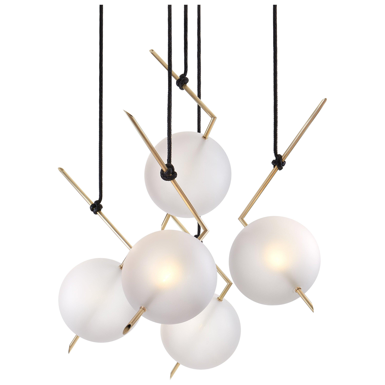 Nuvola Stardust-White BOLD - Five Lights Chandelier Brass, Leather, Blown Glass