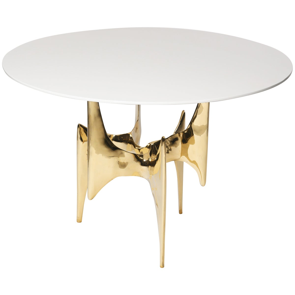Center Table in Polished Gold Bronze with White Gloss Top by Elan Atelier