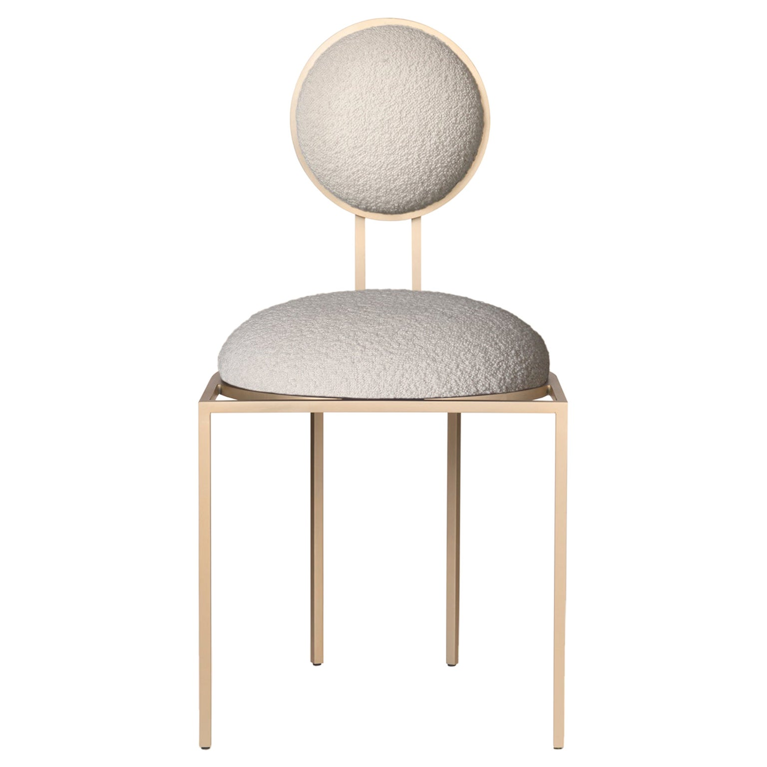 Orbit Dining Chair in Cream Boucle Wool Fabric and Brushed Brass, by Lara Bohinc