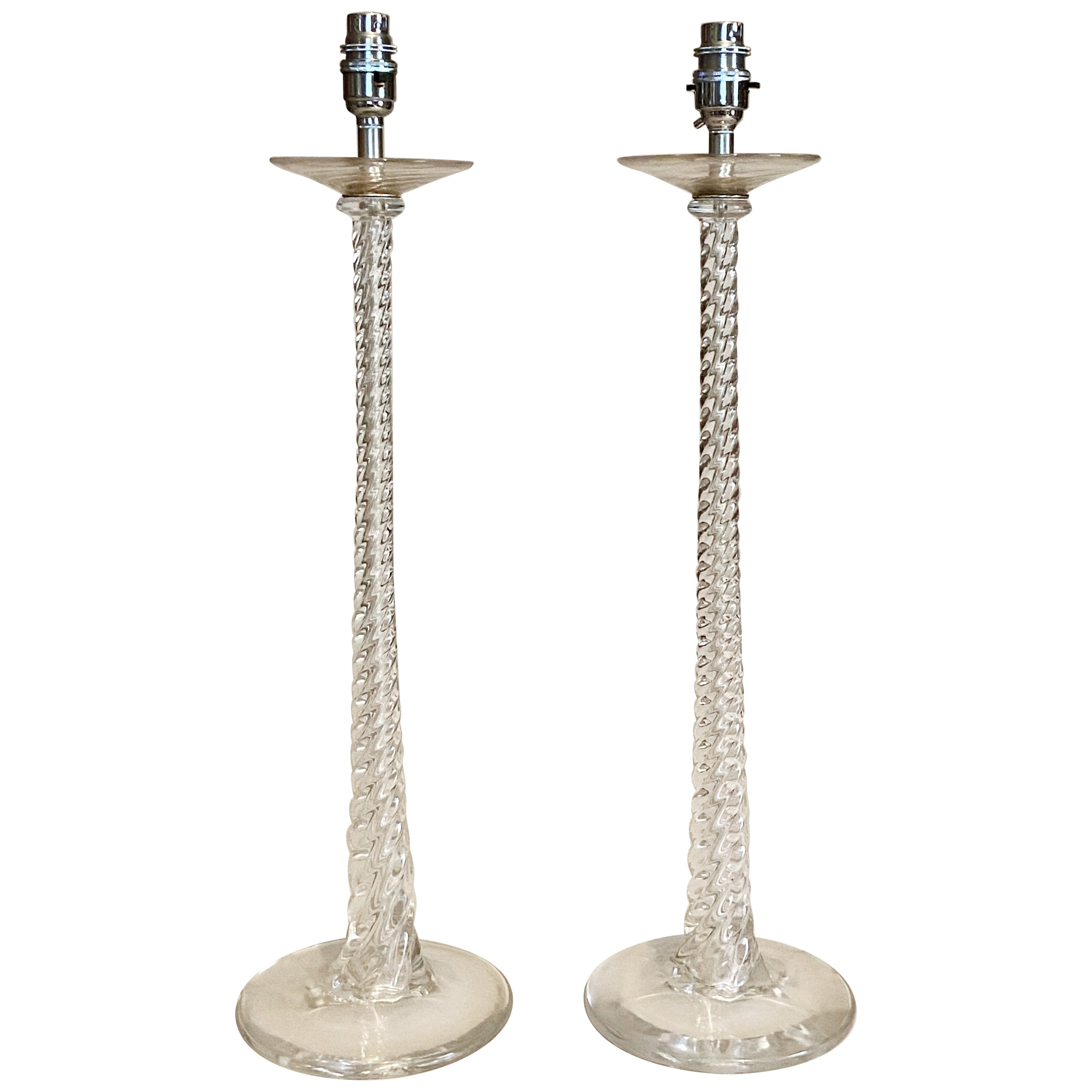 20th Century Glass Table Lamps