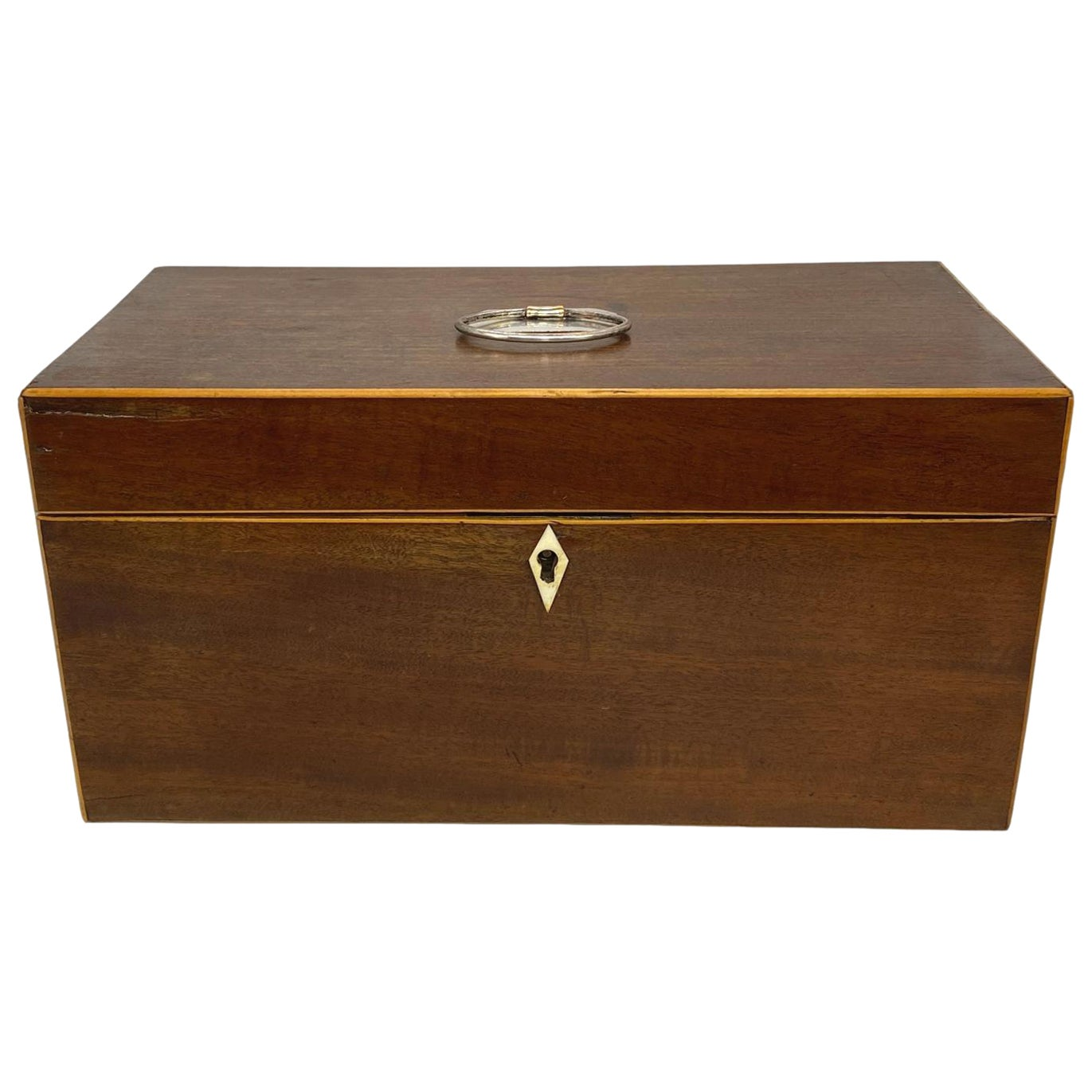 Antique George III Tea Caddy Box, Mahogany and Satinwood Banding, English, 1780