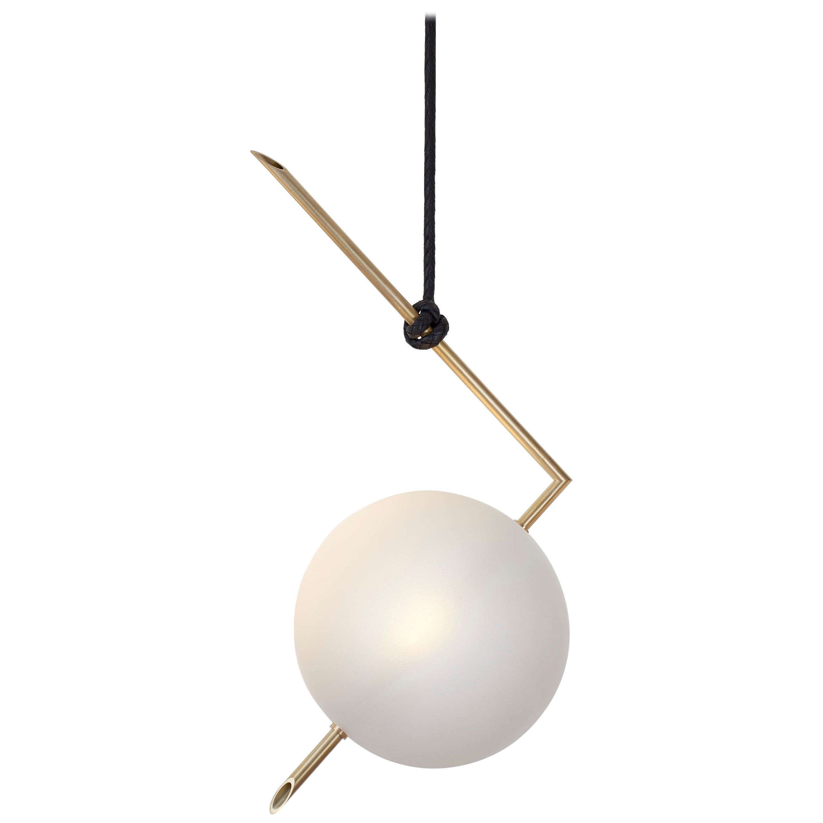 Nuvola BOLD One Light Pendant, Stardust White Blown Glass, Leather, Brass
