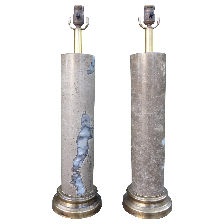 Pair of Mid-Century Modern Marble Column Lamps