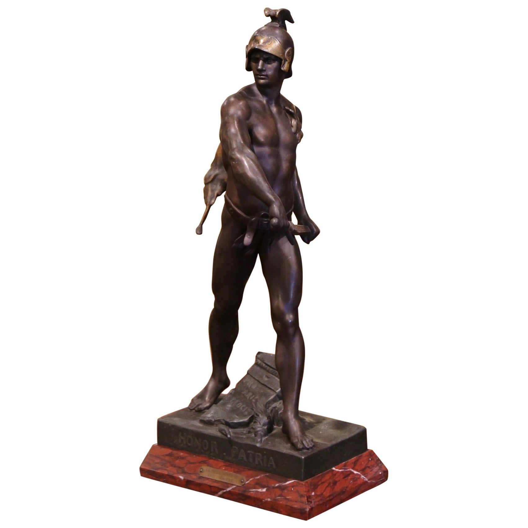 """19th Century French Spelter Sculpture Titled """"Honor-Patria"""" Signed E. Picault"""