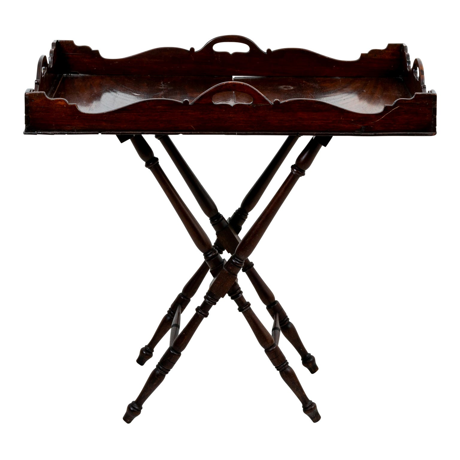 19th Century Flamed Mahogany Tray on Stand