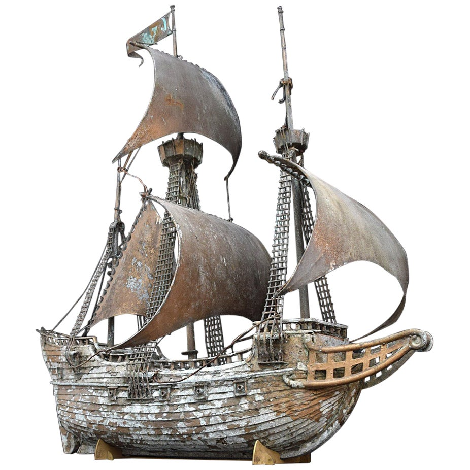Early 20th Century Scratch Built Galleon Ship Model