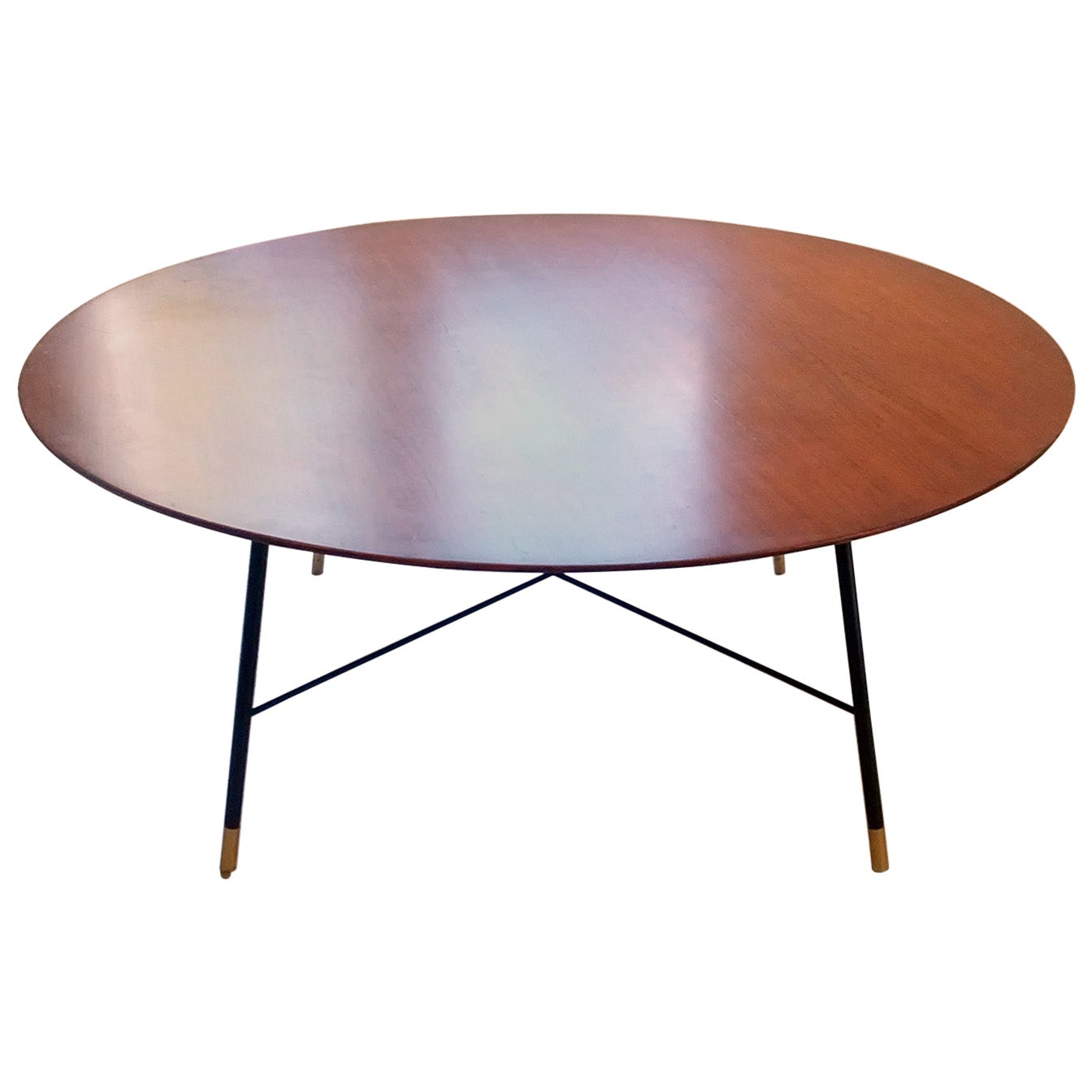 Ico Parisi Round Low Table with Mahogany Top and Brass Feet, Cassina Milano 1955