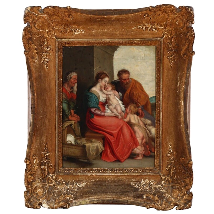 18th Century the Holy Family, Unsigned, Oil on Copper