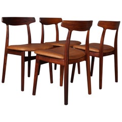 Henning Kjærnulf Four Rosewood Dining Chairs