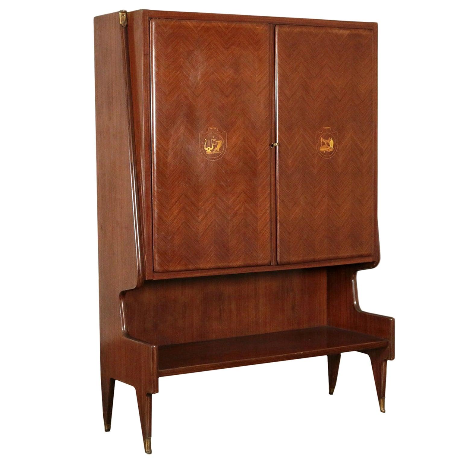 Bar Cabinet Veneered Wood Brass Maple, Italy, 1950s