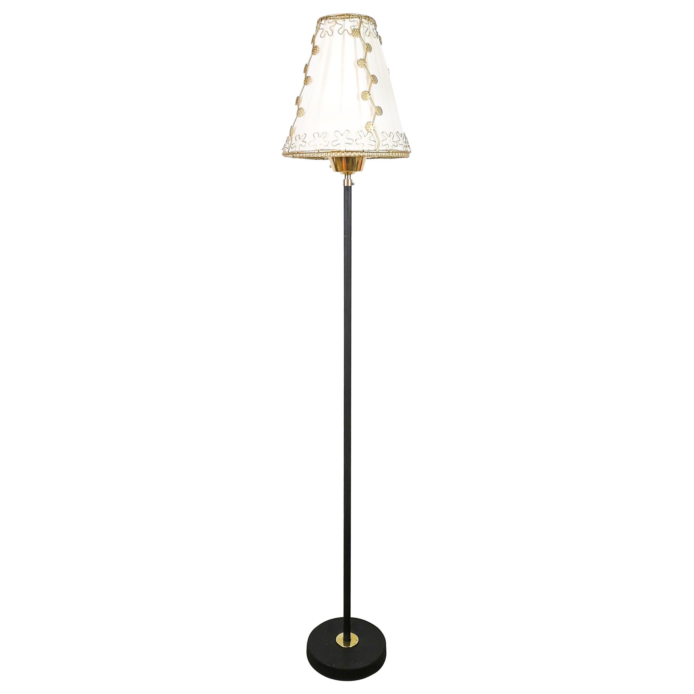 Midcentury Cast Iron and Brass Floor Lamp Ewå, Sweden, 1960s