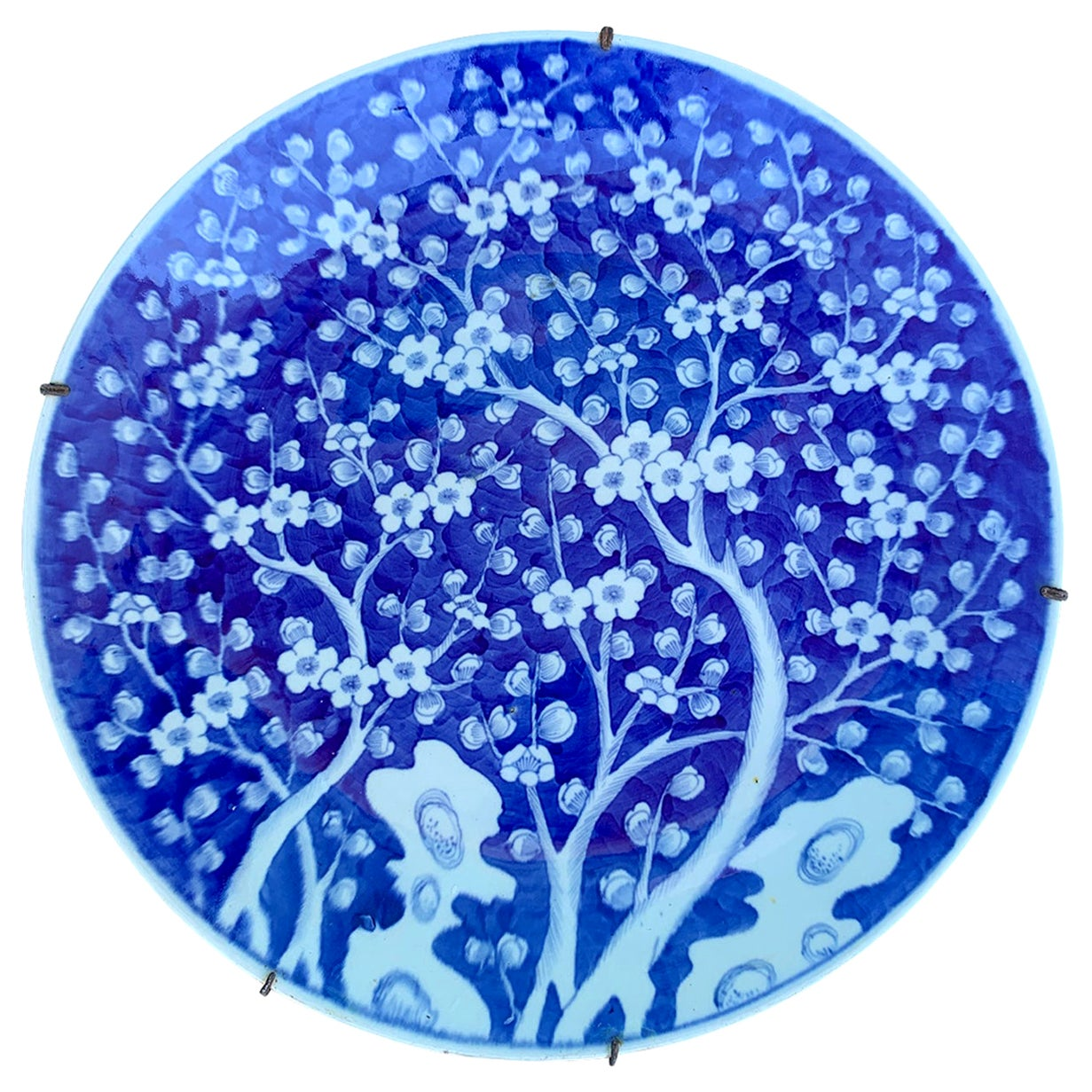 19th Century Chinese Blue and White Cherry Blossom Round Porcelain Charger