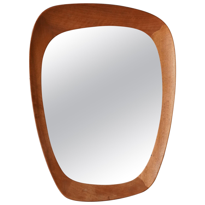 Uno Kristiansson, Organic Wall Mirror, Stained Oak, Vittsjö Möbel, Sweden, 1960s