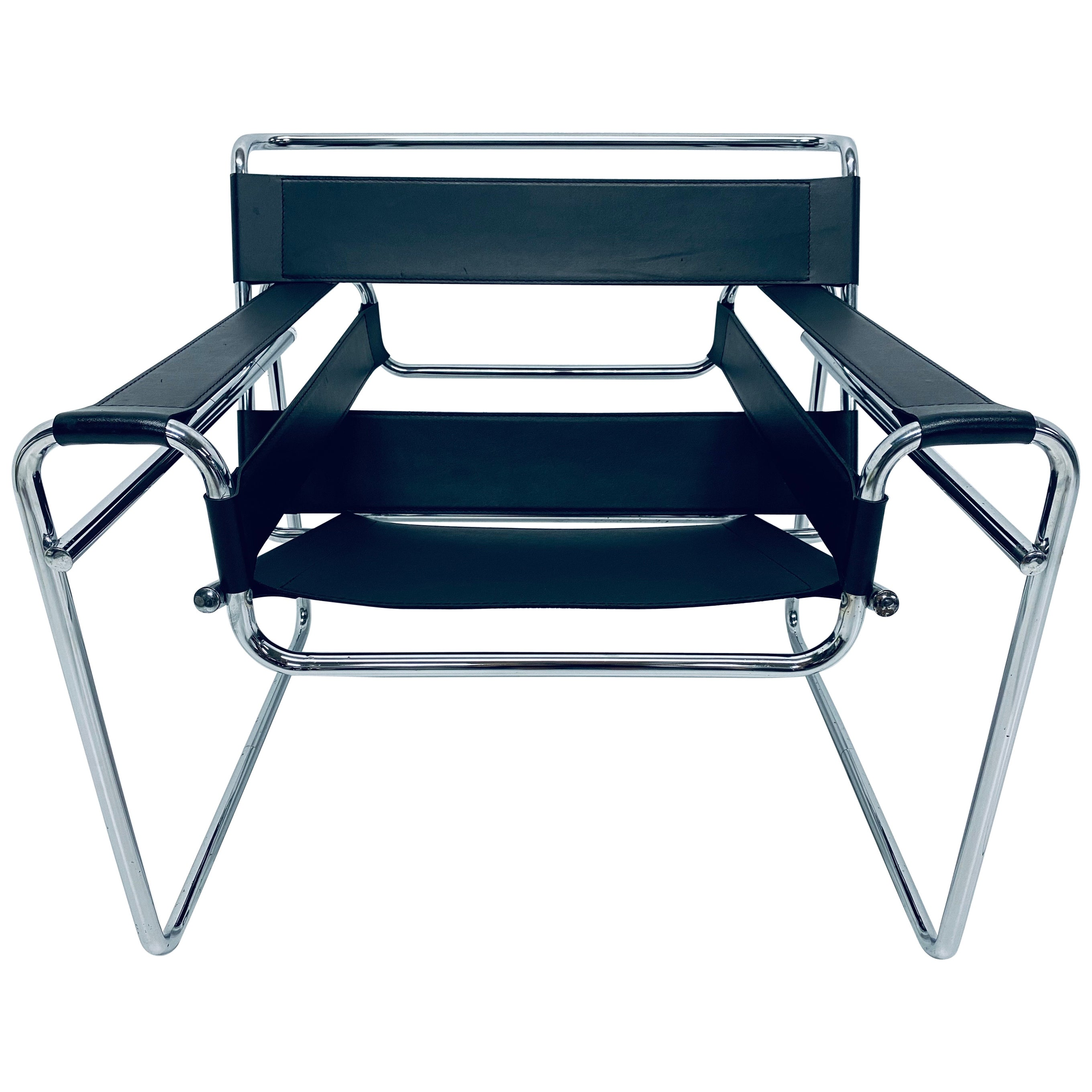 """Marcel Breuer Design Style Black Leather """"Wassily"""" Chair"""