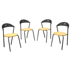 Italian Mid-Century Modern Round Beech Seat Chairs Fly Line, 1980s