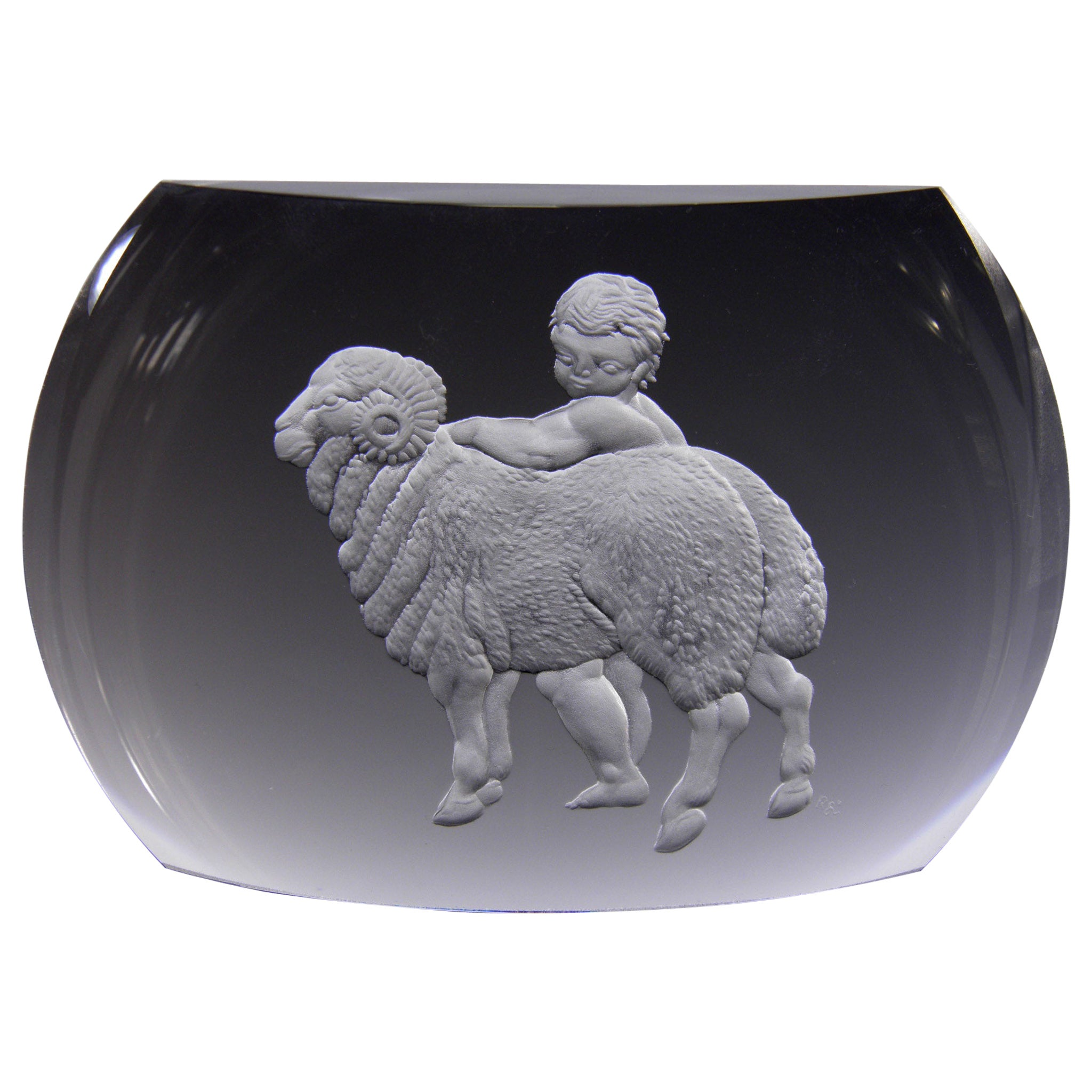 Aries Glass Block Zodiac Signs Panoramic Optical Glass