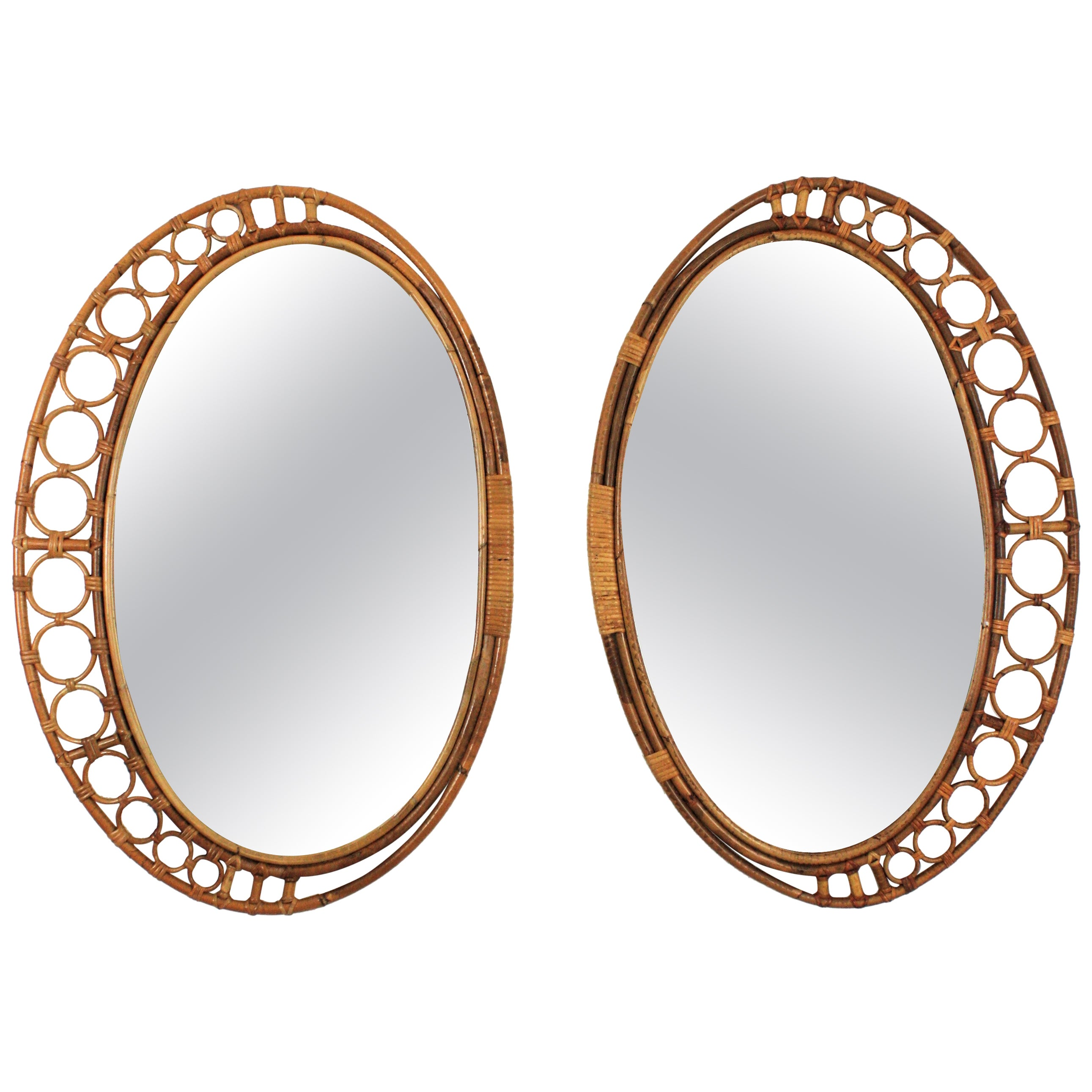 Pair of Bamboo and Rattan Oval Mirrors from Spain, 1960s