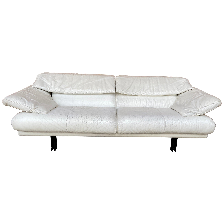 "Mid-Century Modern Italian B&B ""Alanda"" Two and a Half Seat White Leather Sofa"