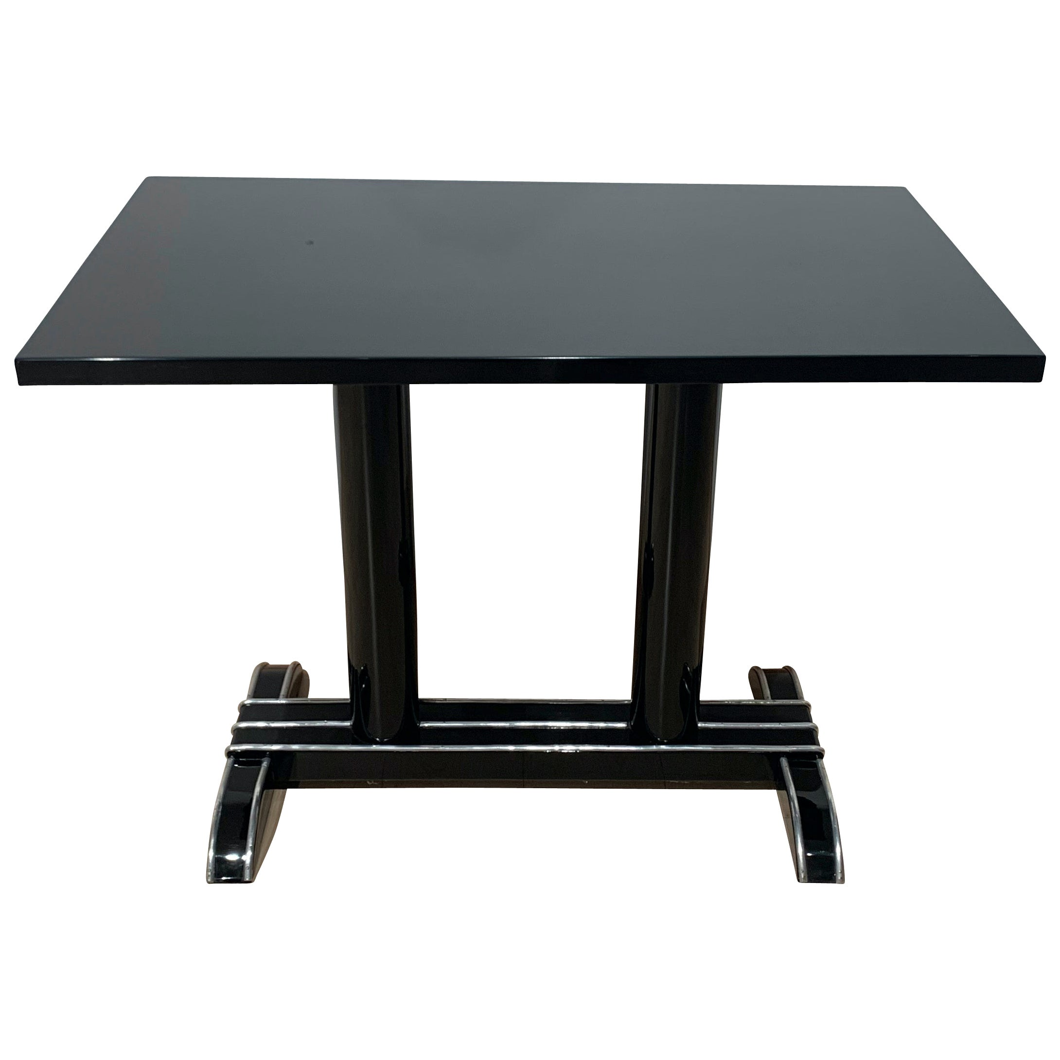 Art Deco Bistro or Side Table, Black Lacquer, Aluminum Trims, France, 1930s