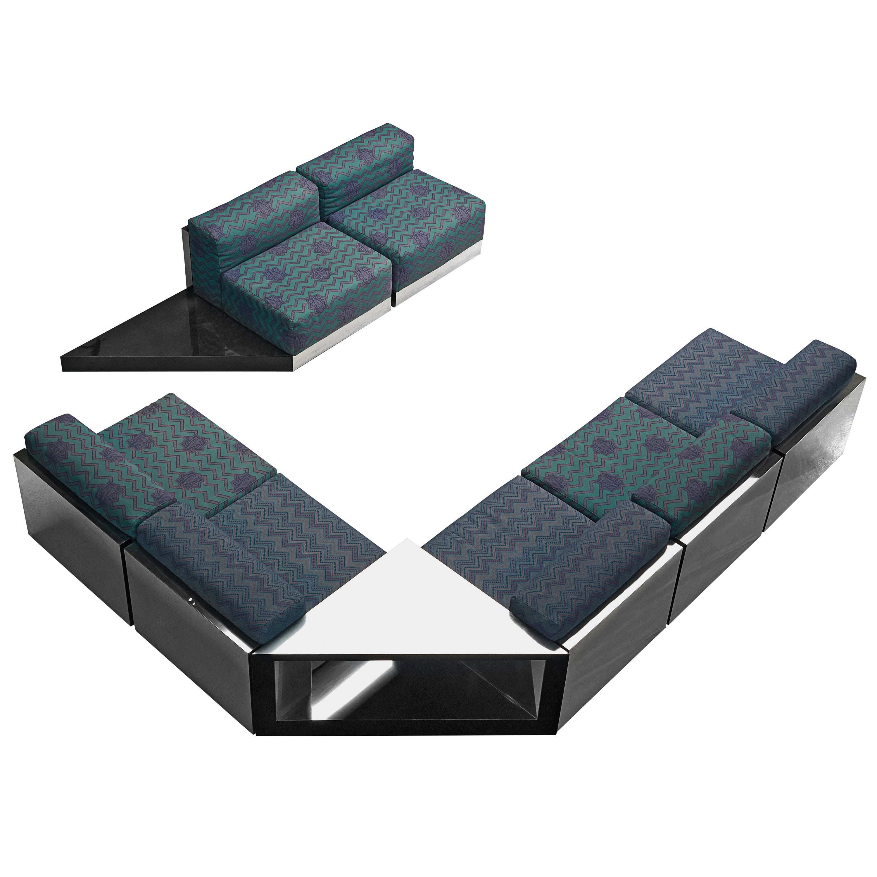 Italian Sectional Sofa in Steel and Patterned Upholstery, 1980s
