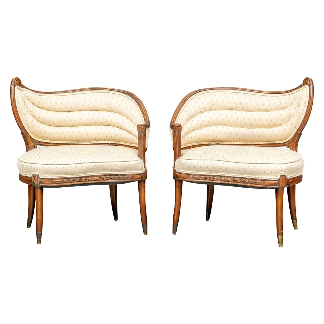 Fine Pair of Complimentary Hollywood Regency Style Lounge Chairs