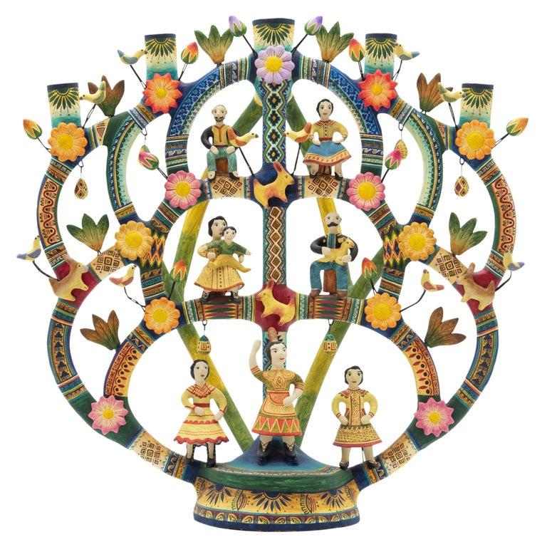 Mexican Arbol de la Vida Bull Tree of Life Dolls Colorful Folk Art Ceramic Clay